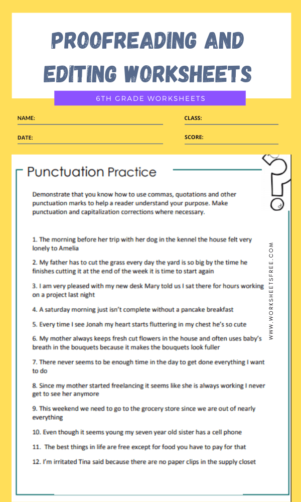 proofreading and editing worksheets grade 6 3