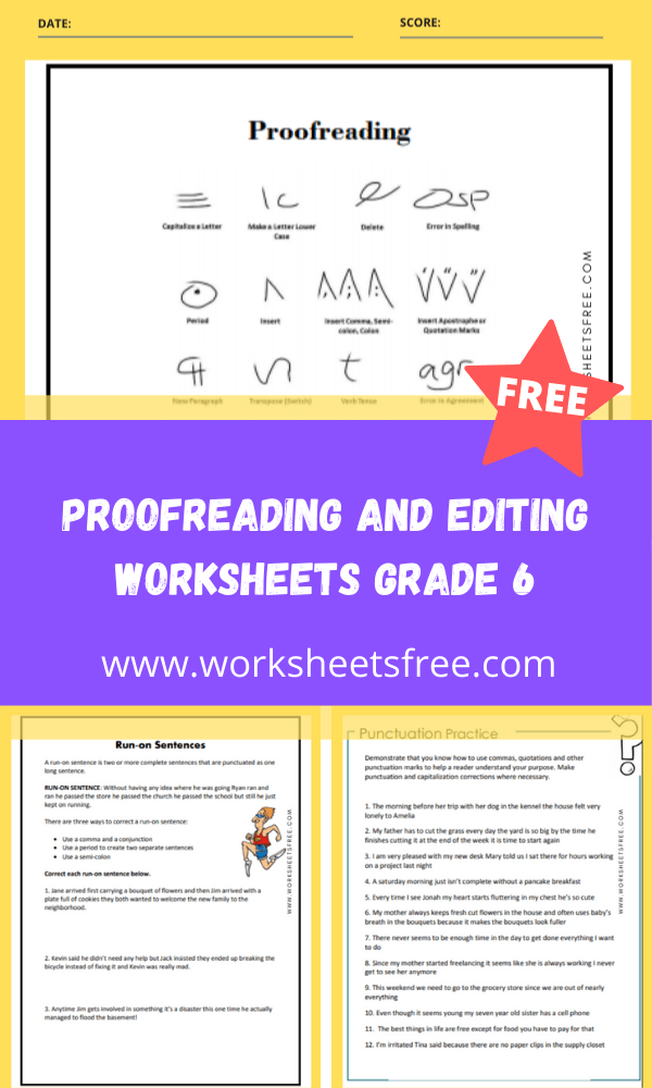 proofreading and editing worksheets grade 6