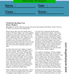reading comprehension worksheets 6th grade multiple choice 1   Worksheets  Free [ 4205 x 2523 Pixel ]