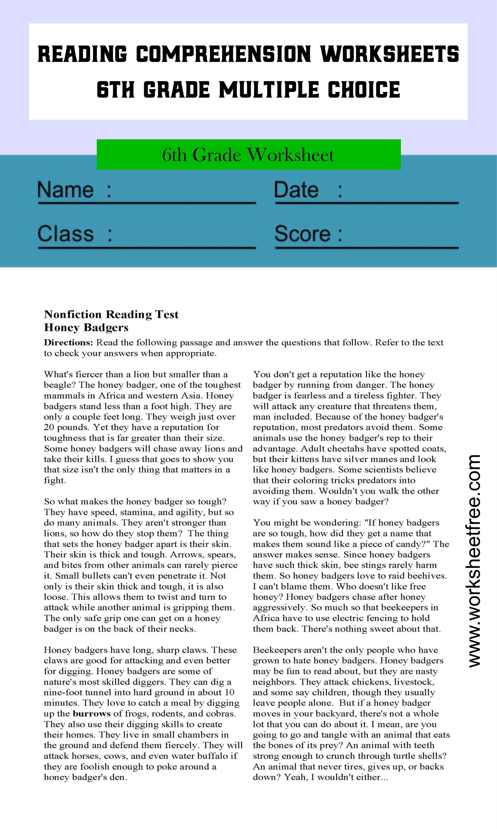 hight resolution of reading comprehension worksheets 6th grade multiple choice 1   Worksheets  Free