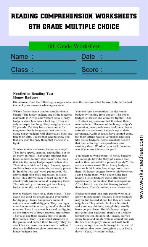 small resolution of reading comprehension worksheets 6th grade multiple choice 1   Worksheets  Free