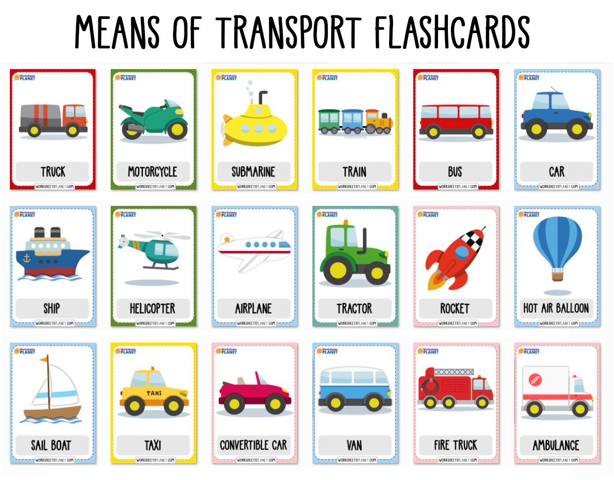 Means Of Transport Vocabulary Flashcards
