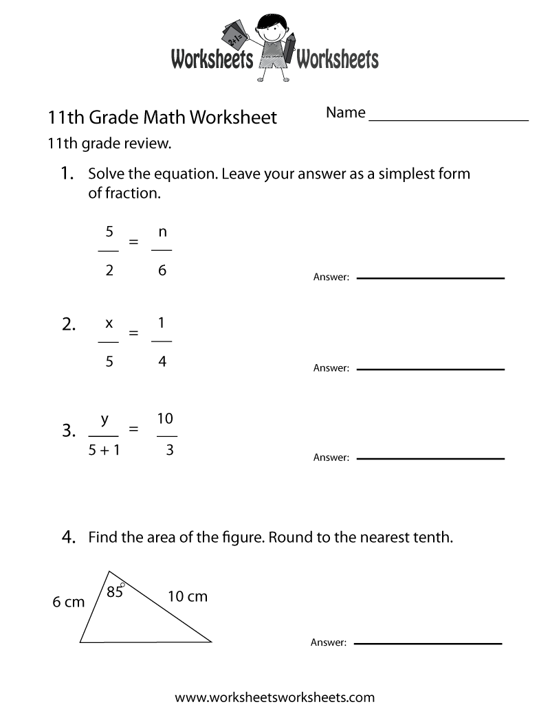hight resolution of Free Printable 11th Grade Math Review Worksheet