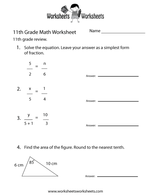 small resolution of Free Printable 11th Grade Math Review Worksheet