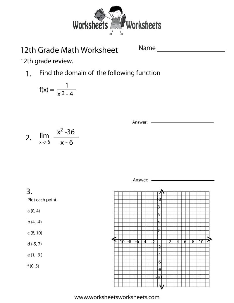 medium resolution of Twelfth Grade Math Practice Worksheet   Worksheets Worksheets
