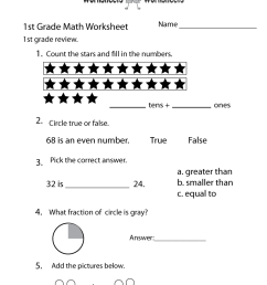 Free Printable 1st Grade Math Review Worksheet [ 1035 x 800 Pixel ]