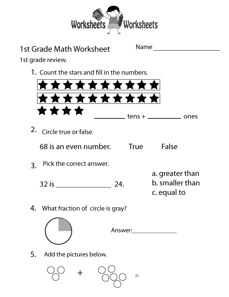 hight resolution of Free Printable 1st Grade Math Review Worksheet