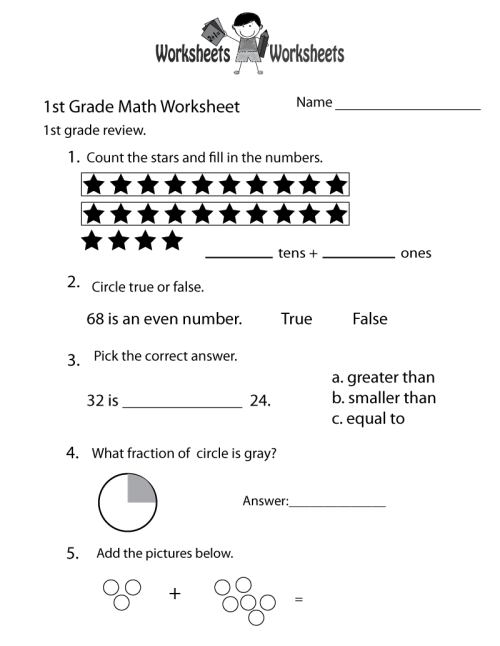 small resolution of Free Printable 1st Grade Math Review Worksheet