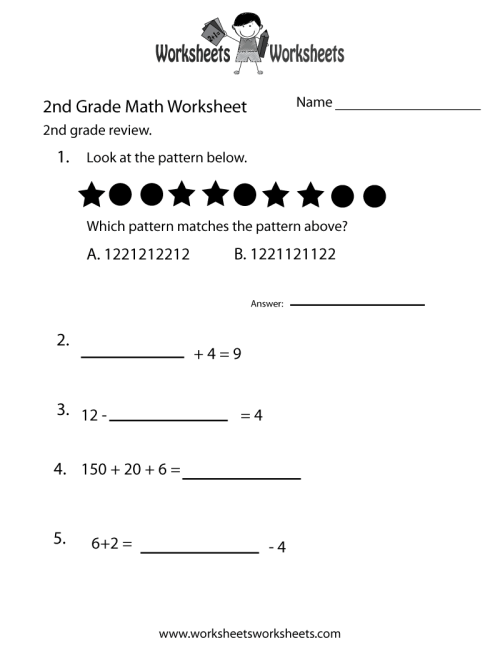 small resolution of 2nd Grade Math Review Worksheet   Worksheets Worksheets