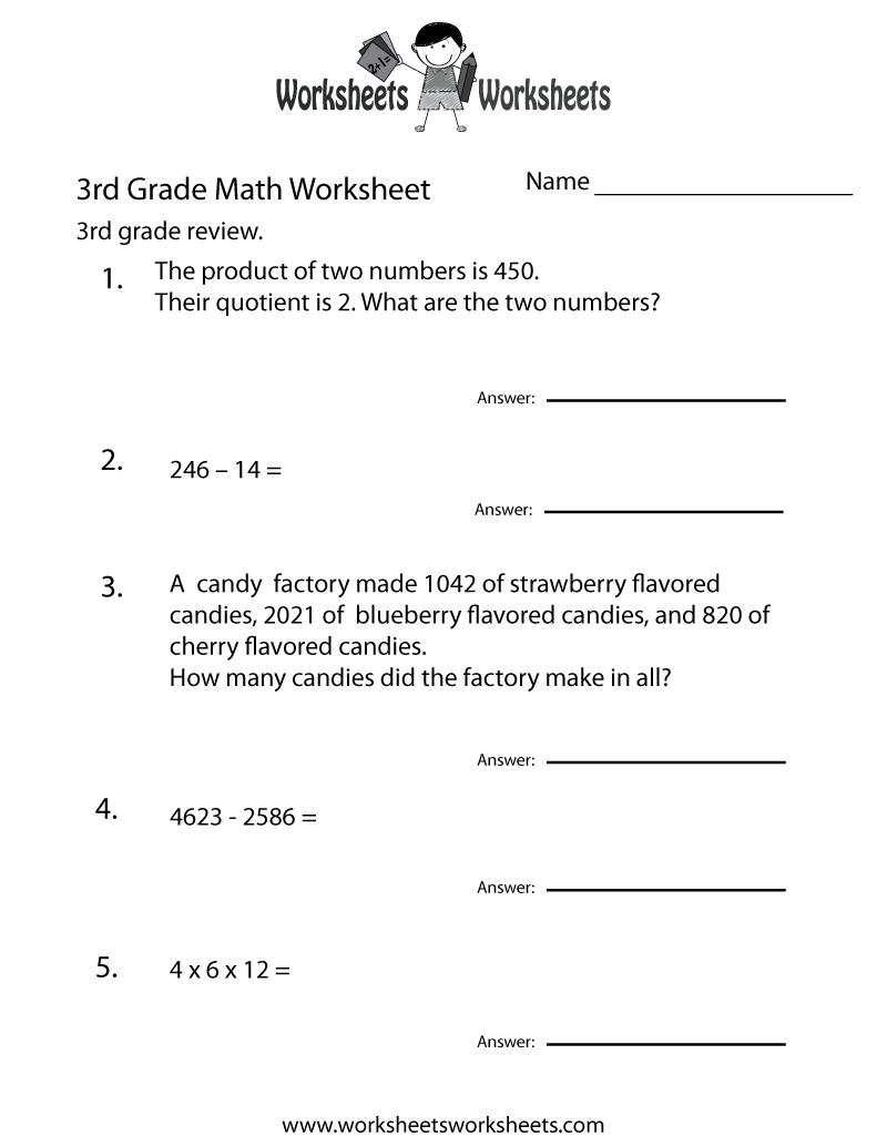 medium resolution of Third Grade Math Practice Worksheet   Worksheets Worksheets