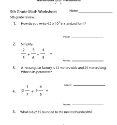 Free Printable 5th Grade Math Review Worksheet [ 1035 x 800 Pixel ]