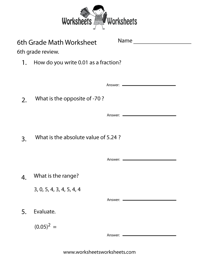 medium resolution of Free Printable 6th Grade Math Review Worksheet