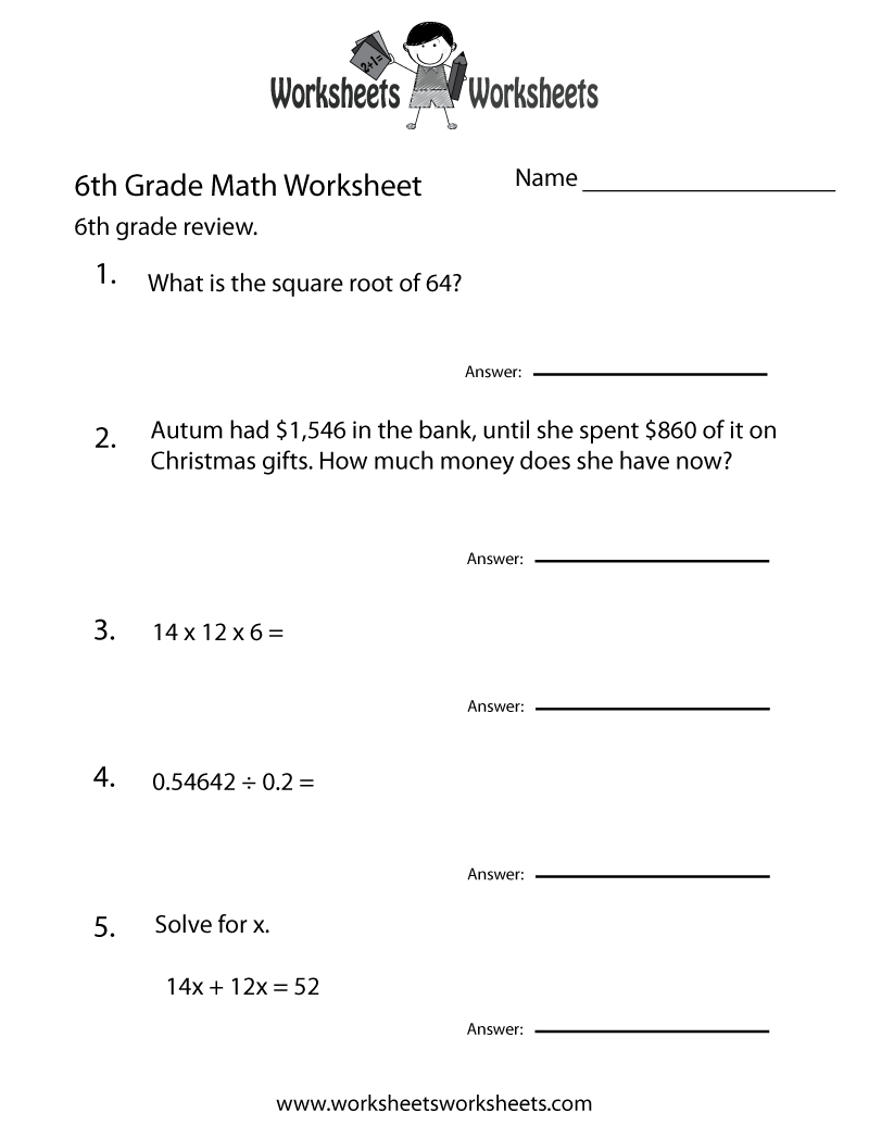 medium resolution of Sixth Grade Math Practice Worksheet   Worksheets Worksheets