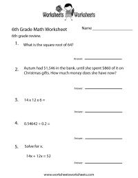 Free Printable Sixth Grade Math Practice Worksheet