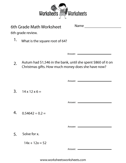 small resolution of Sixth Grade Math Practice Worksheet   Worksheets Worksheets