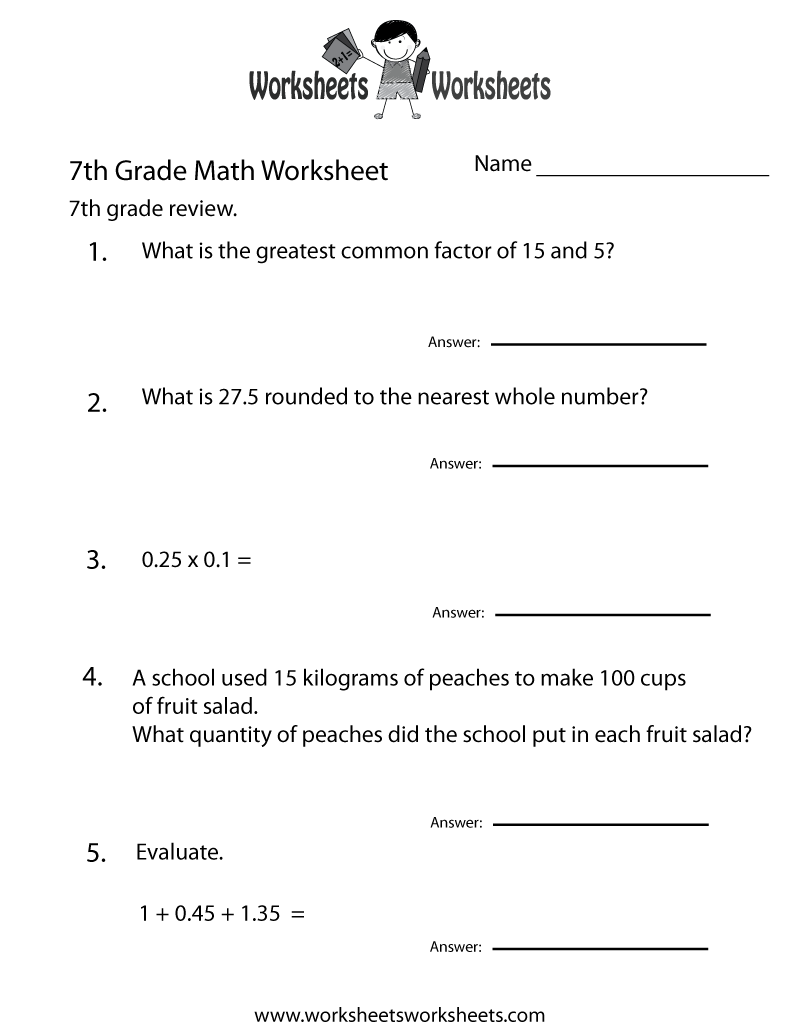 hight resolution of 7th Grade Math Review Worksheet   Worksheets Worksheets