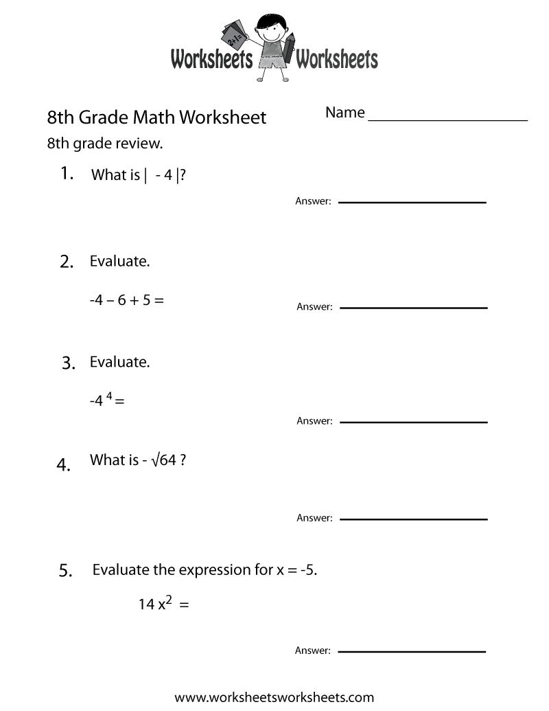 hight resolution of 8th Grade Math Review Worksheet   Worksheets Worksheets