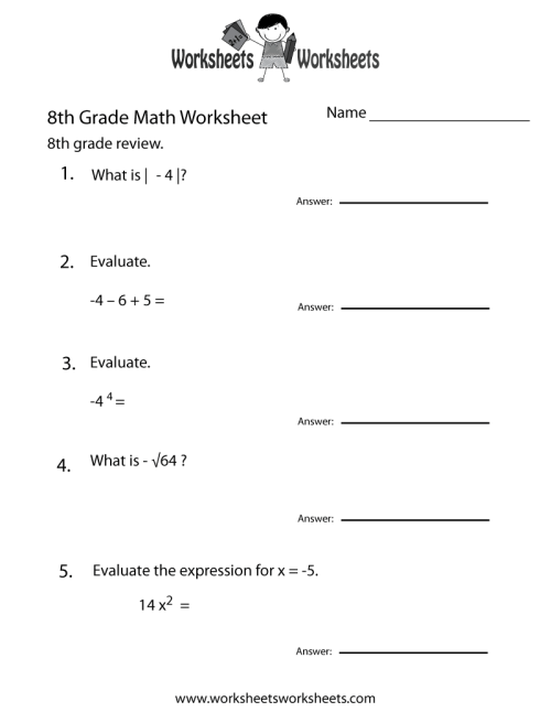 small resolution of 8th Grade Math Review Worksheet   Worksheets Worksheets