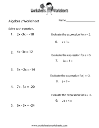 Free Printable Algebra 2 Review Worksheet