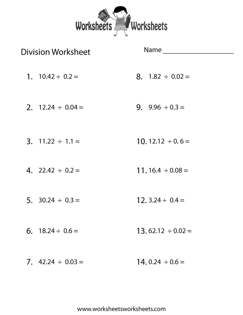 hight resolution of Decimal Division Worksheet   Worksheets Worksheets