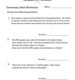 Elementary Math Word Problems Worksheet   Worksheets Worksheets [ 1035 x 800 Pixel ]