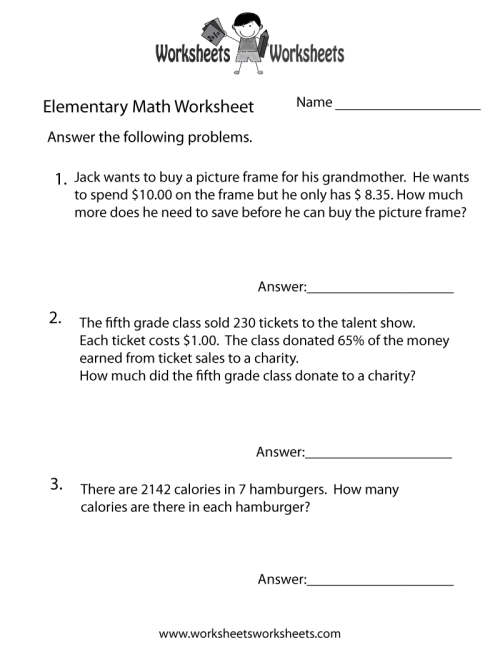 small resolution of Elementary Math Word Problems Worksheet   Worksheets Worksheets