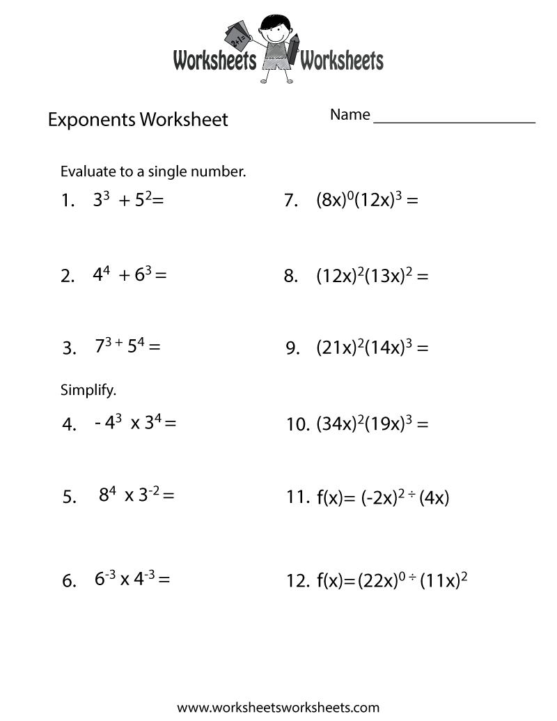 Exponents Review Worksheet
