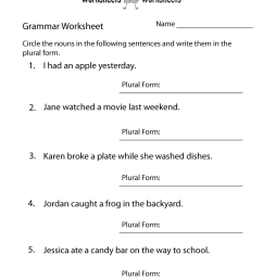 English Grammar Worksheet   Worksheets Worksheets [ 1035 x 800 Pixel ]
