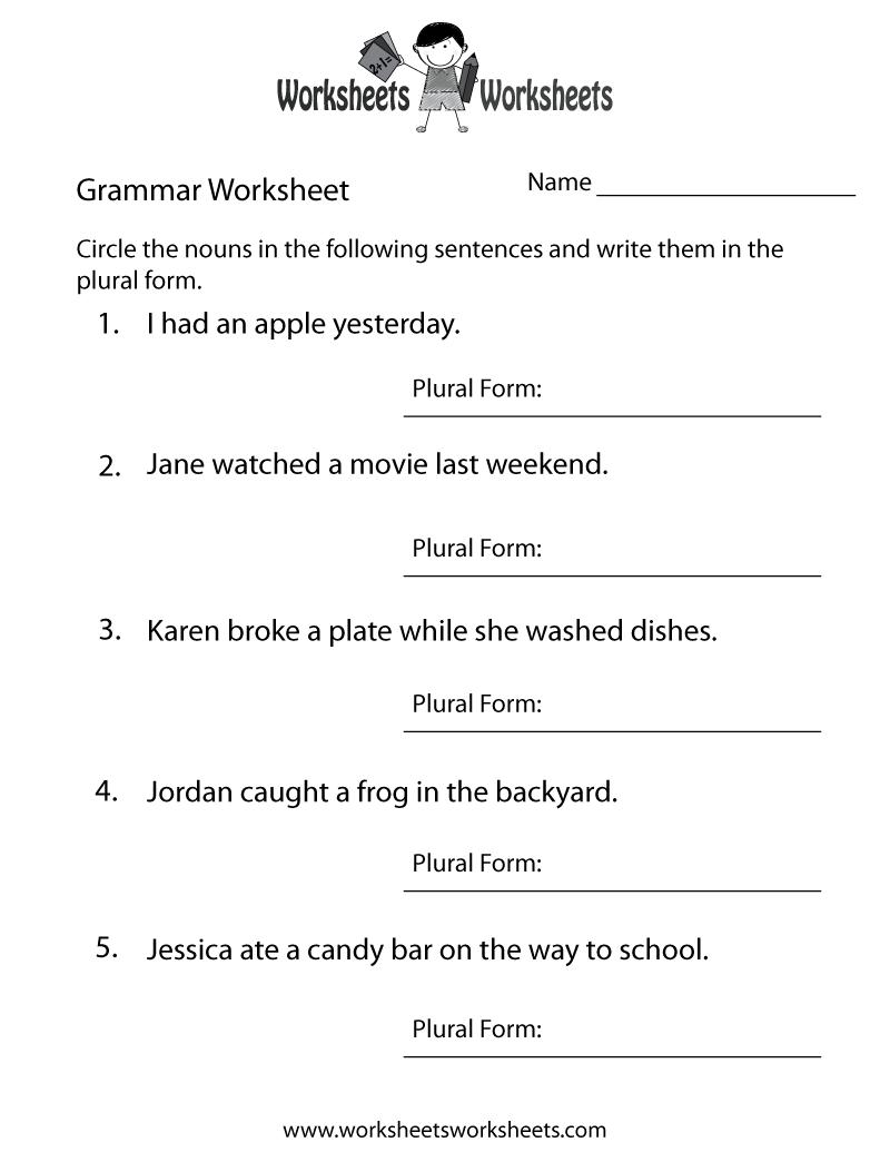 hight resolution of English Grammar Worksheet   Worksheets Worksheets