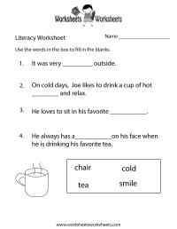 Kindergarten Literacy Worksheet - Free Printable ...