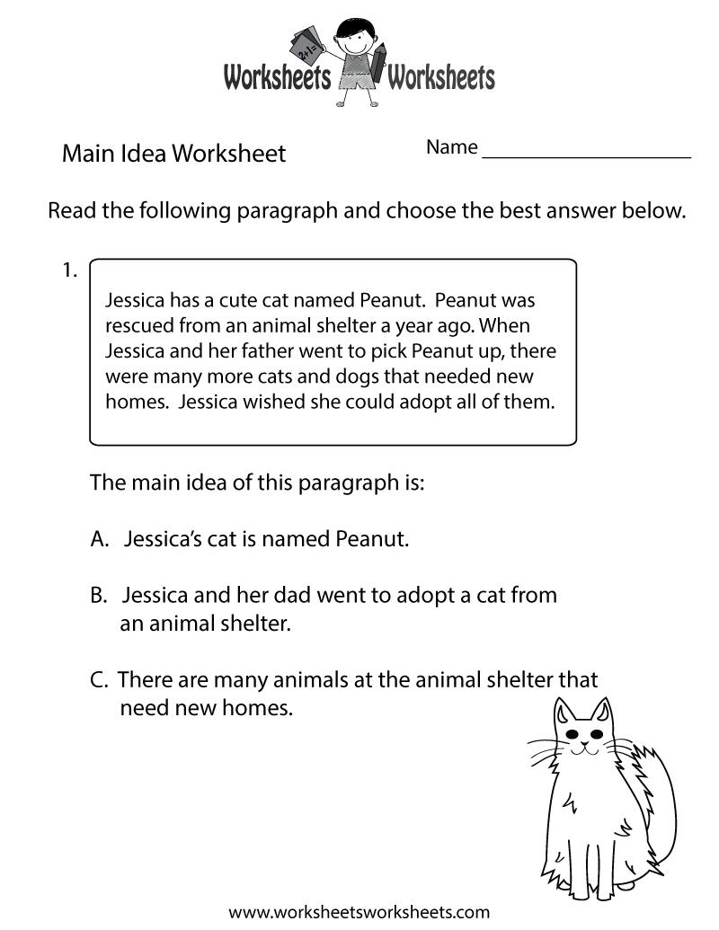 medium resolution of Finding the Main Idea Worksheet   Worksheets Worksheets