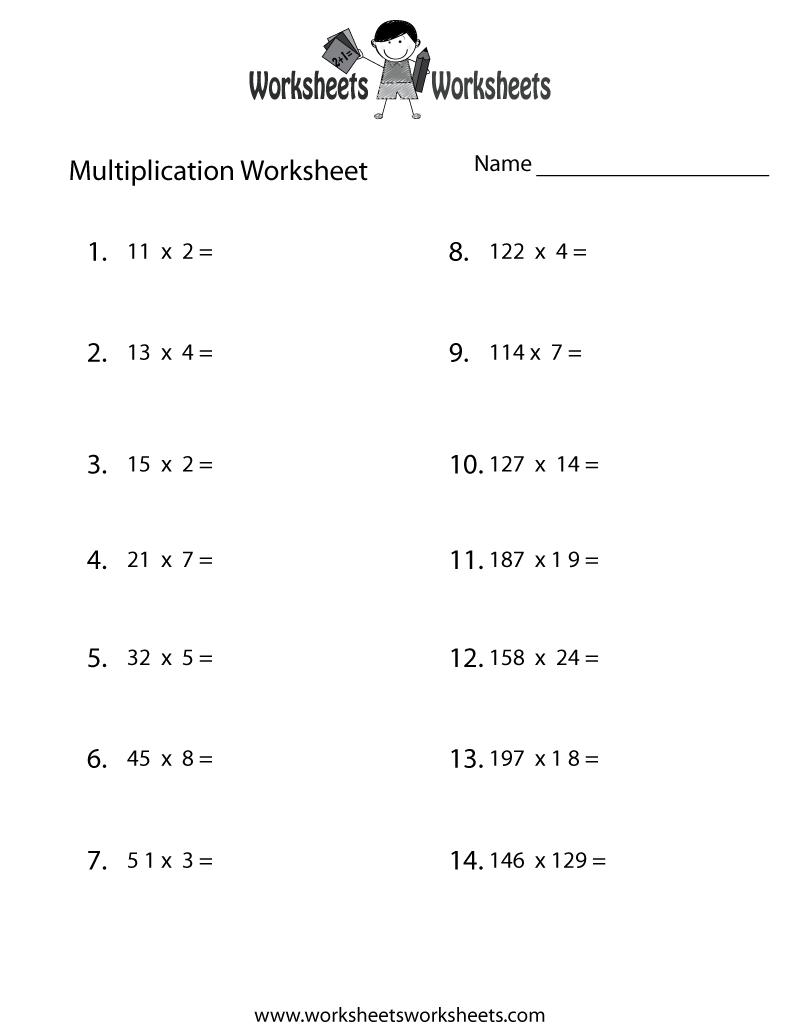 medium resolution of Free Printable Multiplication Problems Worksheet