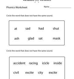 First Grade Phonics Worksheet   Worksheets Worksheets [ 1035 x 800 Pixel ]