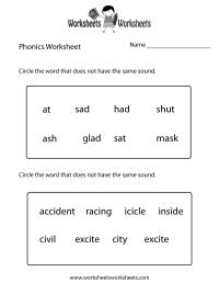 Free Printable First Grade Phonics Worksheet