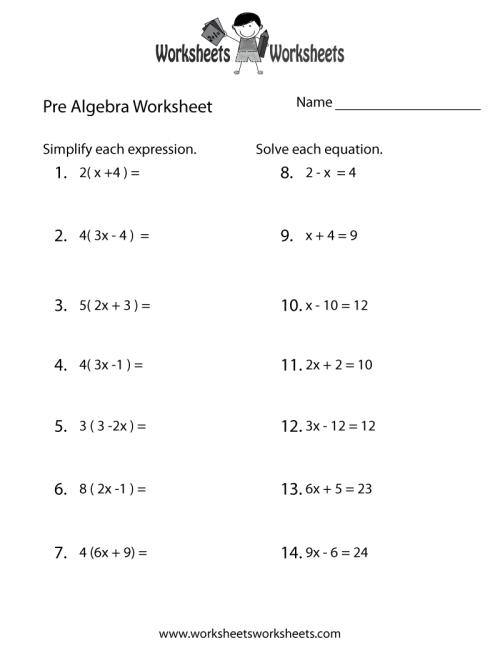 small resolution of Pre-Algebra Review Worksheet   Worksheets Worksheets