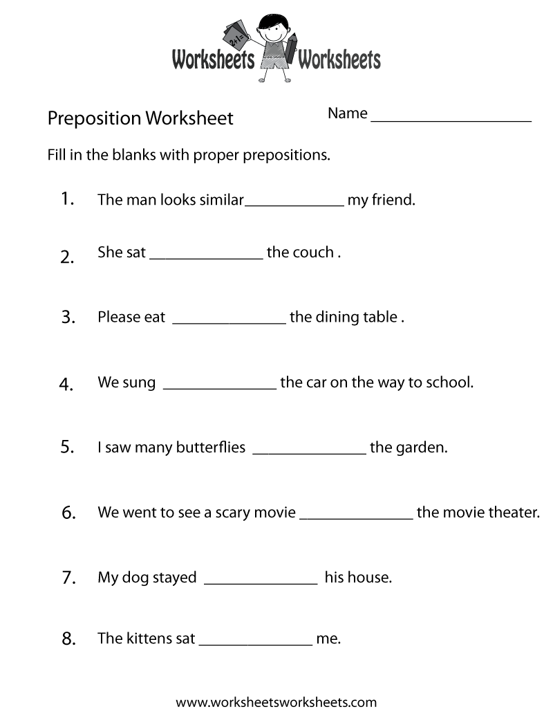hight resolution of Preposition Practice Worksheet   Worksheets Worksheets