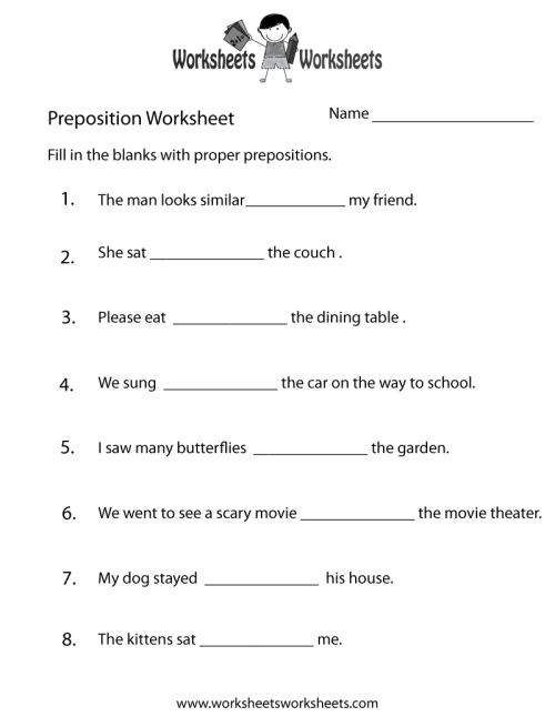 small resolution of Preposition Practice Worksheet   Worksheets Worksheets