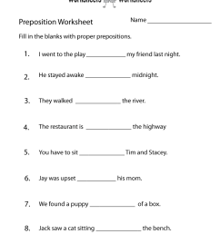 Free Printable Preposition Test Worksheet [ 1035 x 800 Pixel ]