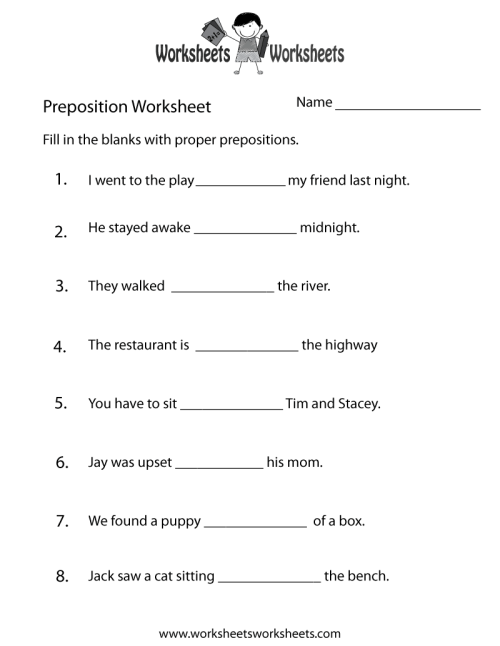 small resolution of Free Printable Preposition Test Worksheet