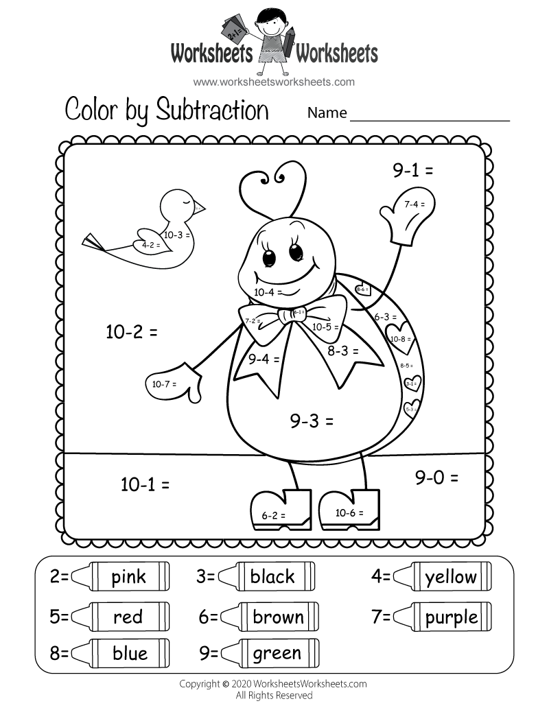 medium resolution of Valentine's Day Subtraction Worksheet   Worksheets Worksheets