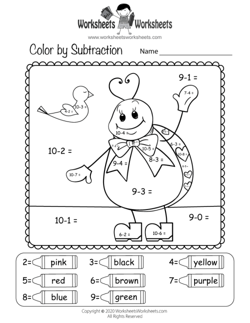 small resolution of Valentine's Day Subtraction Worksheet   Worksheets Worksheets