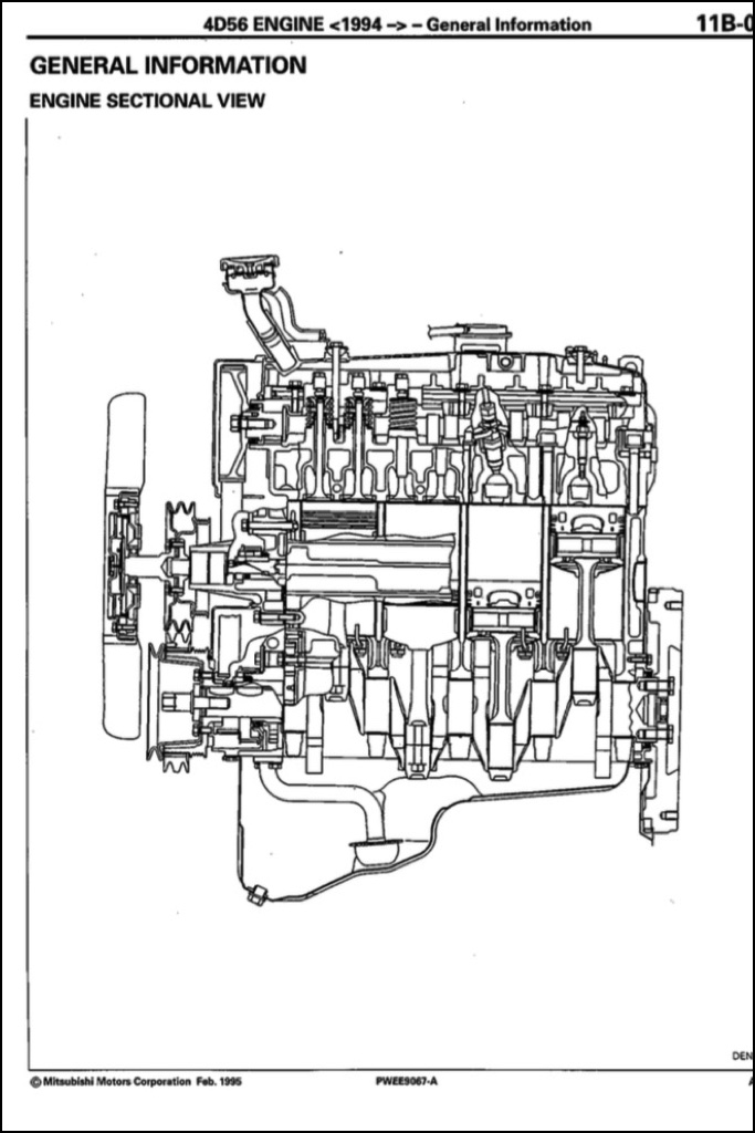 Mitsubishi 4D56 engine factory workshop and repair manual