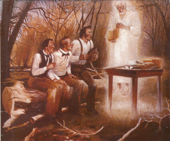 Oliver Cowdery, Joseph Smith, and David Whitmer see the plates and the angel; Martin Harris had the same experience separately, later. Retouched and colorized by Bryce Haymond
