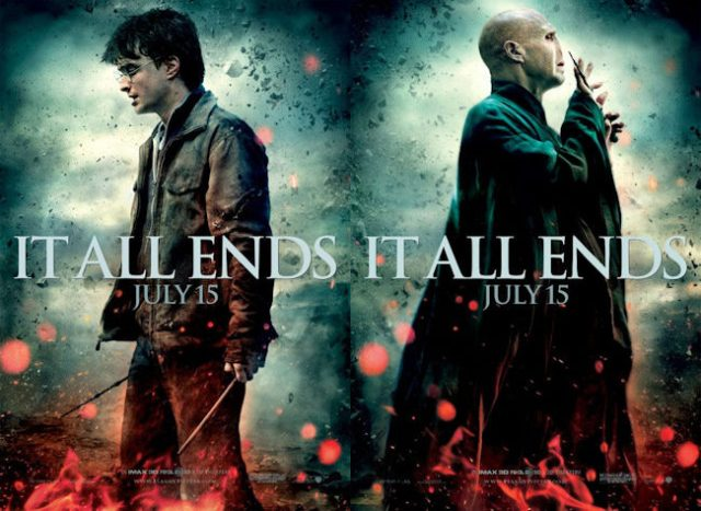 "Movie posters from Harry Potter and the Deathly Hallows Part 2, with the caption ""It all ends"""