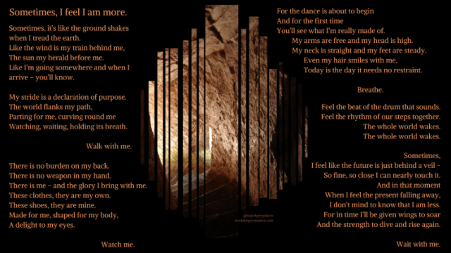 Steps leading into light at Manorbier Castle, Cair Paravel, with poem about resurrection