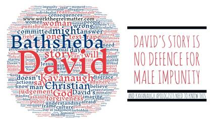 Word cloud in red and blue about David and Bathsheba with the post's title