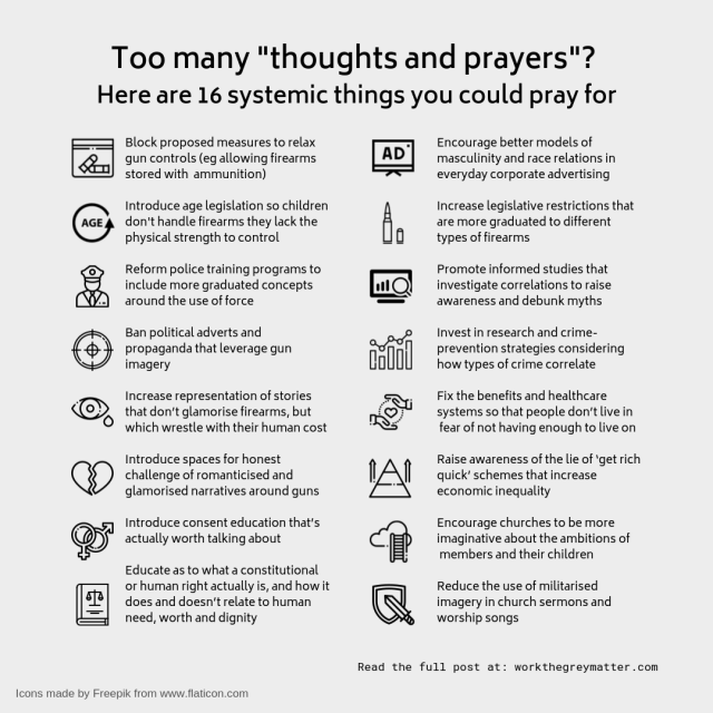 16 systemic things to pray for when it comes to gun violence and mass shootings in the US workthegreymatter.com