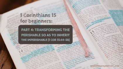 Picture of a Bible open at 1 Corinthians 15 with hand highlighted sections, with the words on top: 1 Corinthians 15 for beginners: Part 4: Transforming the perishable so as to inherit the imperishable(1 Cor 15:44-58) workthegreymatter.com