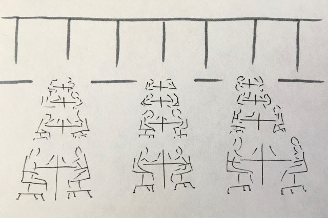 Line sketch of office workers sitting at their desks in long rows