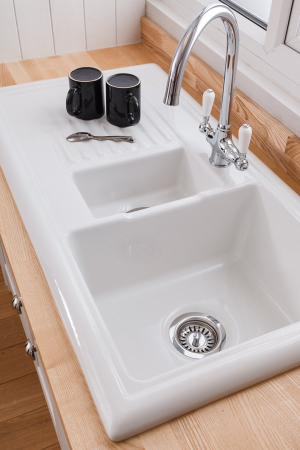 kitchen sinks chairs for worktop express reginox overmounted ceramic sink with drainer 1 5 bowl reversible